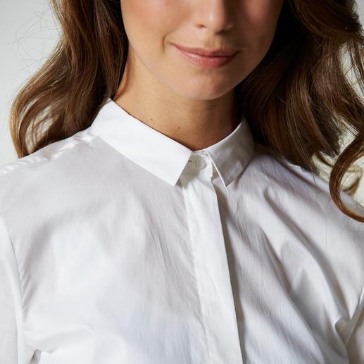 swiss+cotton Longbluse Seltener Glücksgriff: Modische Form plus erlesene Qualität. Die weiße Longbluse mit swiss+cotton Zertifikat.