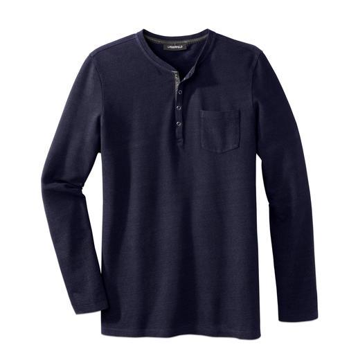 Lagerfeld Henley-Piqué-Shirt - Edler und angezogener als die meisten: das Henley-Shirt von Lagerfeld. Seltenes Piqué-Gewirk. Kragen mit Leder-Besatz.