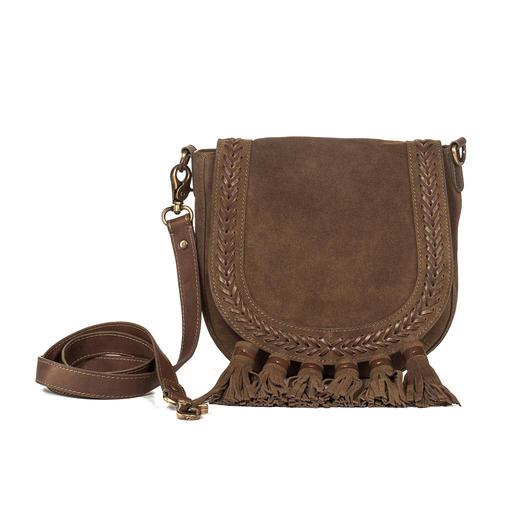 Anokhi Ethno Saddle-Bag Taschenfavorit Saddle-Bag: Diese ist 5-fach modisch. Ethno-Style. Troddeln. Veloursleder. Oliv. Flechtung.