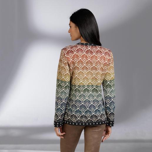 Alpaka-14-Farben-Cardigan Ein Kunstwerk aus den Anden. Aus reinem Alpaka superfine.