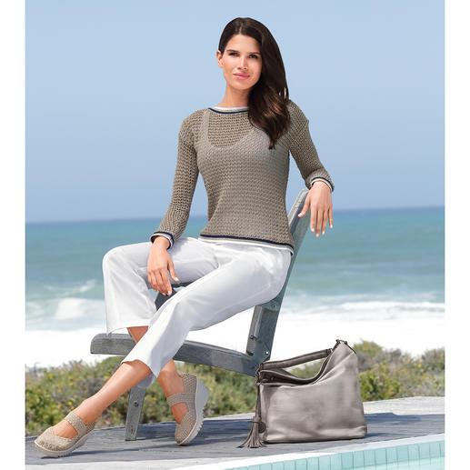 Liu Jo Marine-Pullover Maritim auf italienisch elegante Art. Luftiger Lochstrick. Glamouröses Glanzgarn. Raffinierter Rücken.
