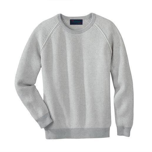 Der strukturstarke Patentstrick-Pullover – selten leicht und luftig. Wiegt nur 460 g. Aus weicher Viskose-Baumwoll-Mischung. Von Carbery.