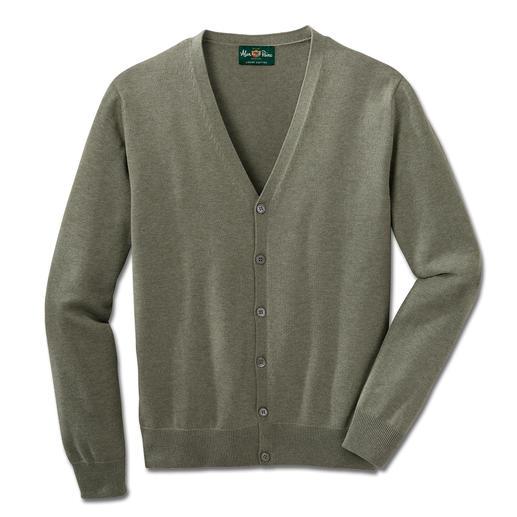 Alan Paine Baumwoll- Kaschmir-Cardigan Die Luxus-Variante des klassischen Baumwoll-Cardigans. Pima Cotton mit feinstem mongolischem Kaschmir.