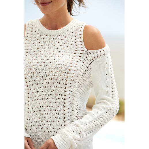 Minnie Rose Off-Shoulder-Pullover Sommerleichte Baumwolle. Rutschsichere Form. Klassischer Muster-Mix. Edles Ecru. Von Minnie Rose, New York.