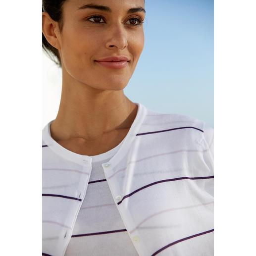 Smedley Blockstreifen-Twinset, Flieder/Violett Purer Luxus aus wertvoller Sea-Island-Baumwolle. Aktuelle Farben, aktuelle Streifen.
