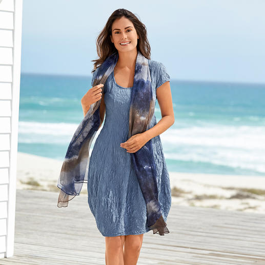 Seidencrash-Sommerkleid Knitterunempfindlich, bügelfrei und absolut blickdicht.