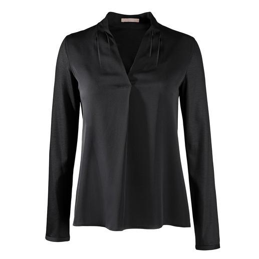 Strenesse Blusen-Shirt, V-Ausschnitt Elegant wie eine Bluse. Bequem wie ein Shirt. Raffinierter Mix aus Jersey und Satin. Von Strenesse.