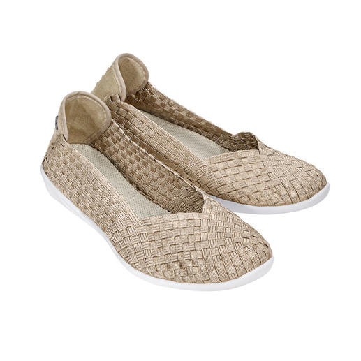 "bernie mev. Flecht-Ballerinas, Goldbeige Der Fashion-Hit aus New York: Sportliche Flecht-Ballerinas vom ""Master of woven Footwear"", bernie mev.."
