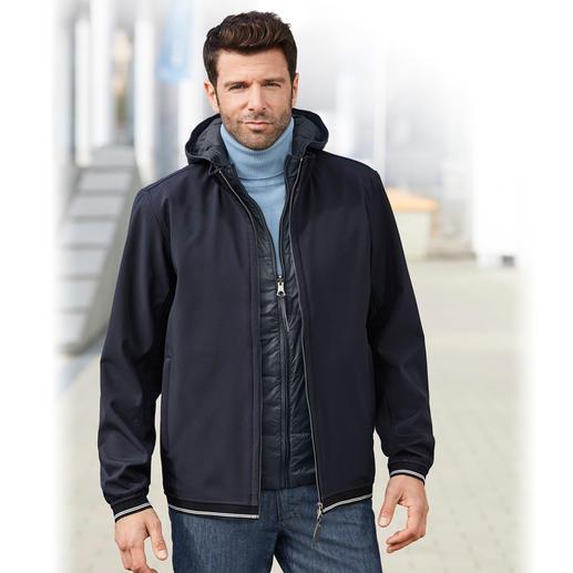Aigle 3-in-1 Herren-Allwetterjacke - Die eine Jacke für jedes Wetter. Wind- und wasserdichtes Softshell mit wärmender Primaloft®-Weste zum Auszippen.