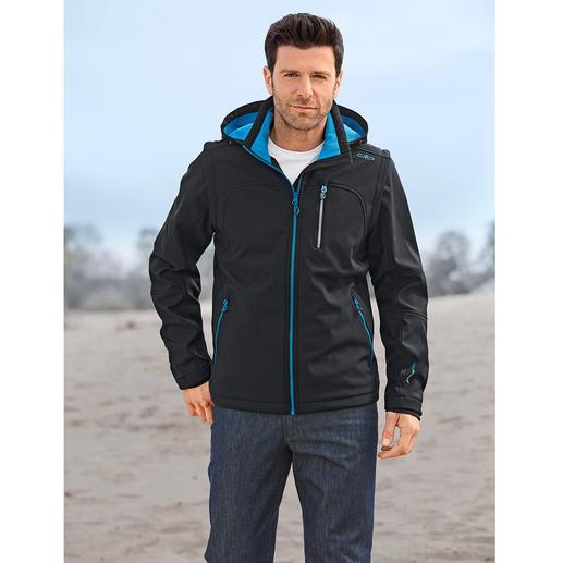 Soft Shell-Herrenjacke, Schwarz/Blau - Schlank, leicht und trotzdem warm. Jacke aus Soft Shell, mit WindProtect®.