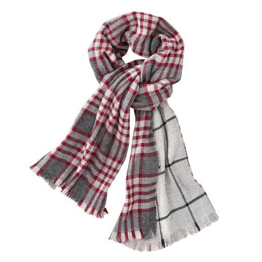 Johnstons Doubleface- Karo-Schal, rot/grau Ein edler Doubleface-Schal. Zwei klassische Muster. Von Johnstons of Elgin/Schottland, Tradition seit 1797.