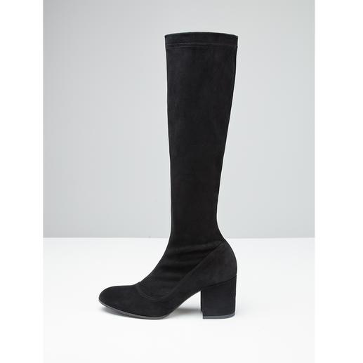 Ma&Lo Stretch-Stiefelette oder -Stiefel Modische Velours-Stretchleder-Stiefel – aber langlebig dank hochwertigem, italienischem Schuhmacherhandwerk.