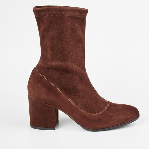 MA&LÒ Stretch-Stiefelette oder -Stiefel Modische Velours-Stretchleder-Stiefel – aber langlebig dank hochwertigem, italienischem Schuhmacherhandwerk.