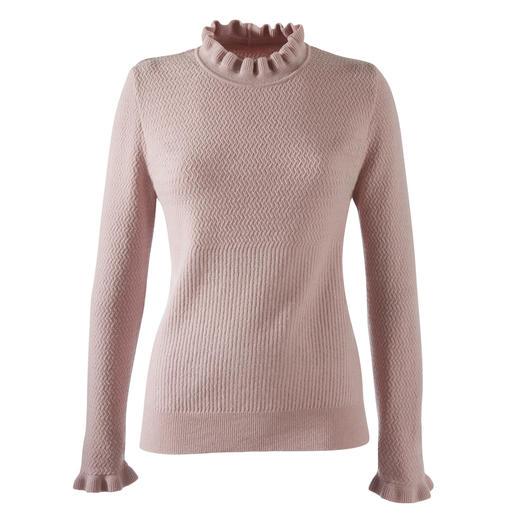 Mustermix-Rüschenpullover, Rosenholz Rüschen, Mustermix, Pudertöne: 3 Trends – und doch nie zu plakativ. Der modische Pullover für weit mehr als eine Saison.