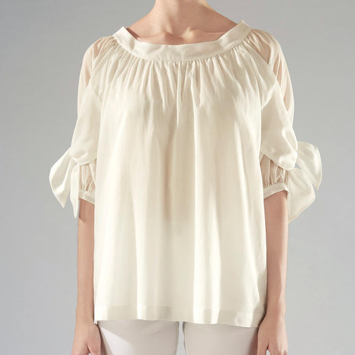 Strenesse Baumwoll-Batist-Bluse Unter den Baumwollblusen mit Statement-Ärmeln ist diese das modische Multitalent. Von Strenesse.