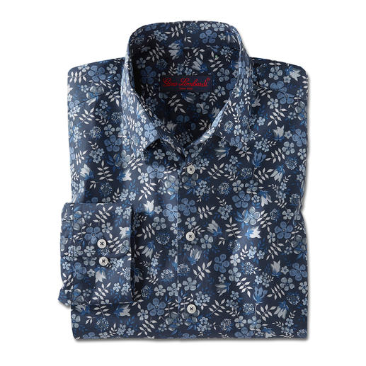 Liberty™ Tana-Lawn-Hemd, Dunkelblau/Weiß/Blau/Grau Das florale Gentleman-Hemd: Bei allen anderen Trend. Bei Liberty™ Tradition seit über 140 Jahren.