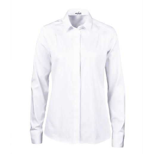 Die Hemdbluse mit plissiertem Rücken - femininer und eleganter als die meisten. Von Deutschlands Blusenspezialist van Laack.
