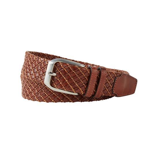 Business-Leder-Flechtgürtel So elegant kann ein Leder-Flechtgürtel sein: Softes Kalbleder. Feine Flechtung. Puristisch cleane Schließe.