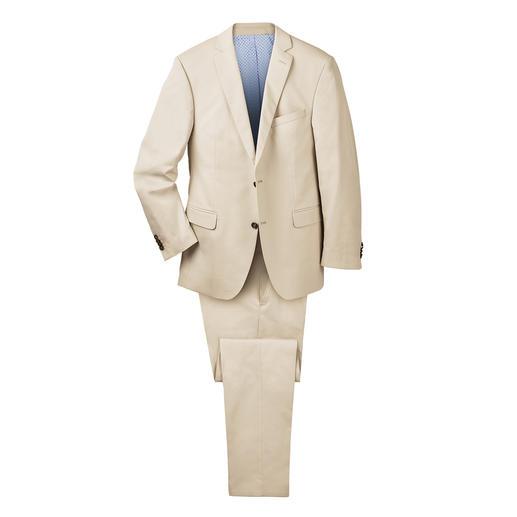 Der ideale Anzug für Business und Reise: sommerliches Baumwoll-Tuch – und doch kaum Knitter. Von Carl Gross, hochwertige Herrenkonfektion nach Schneiderart seit 1925.