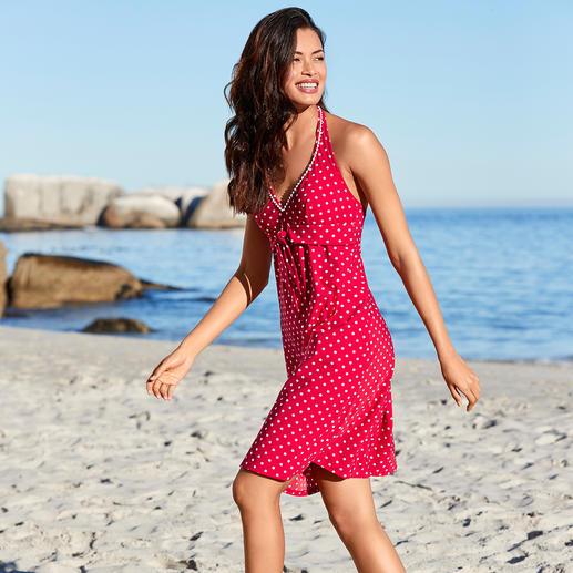 Tupfen-Badeanzug oder -Kleid Zeitgemäße Tupfen-Dessin-Bademode im Riviera-Look der Sixties.