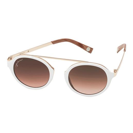 Die elegante Sonnenbrille zum Weiß-Trend. Die elegante Sonnenbrille zum Weiß-Trend. Angesagt runde Gläser. Retro-Form ohne Nasensteg. Erschwinglicher Preis.