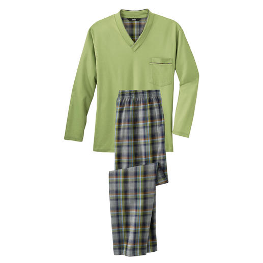 Der Lieblingspyjama zum kleinen Preis. Made in Germany von einem leistungsfähigen Spezialisten aus Sachsen. Reine Baumwolle, sauber verarbeitet.