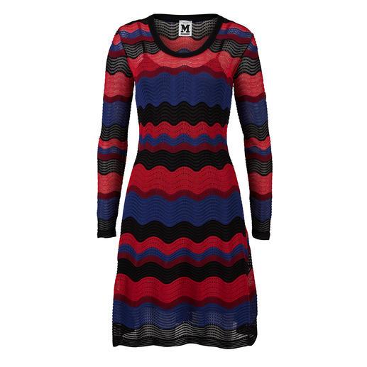 M Missoni Wellenstrick- Kleid, Schwarz/Rot/Azur Perfekte Kleiderform. Fein strukturierter Strick.