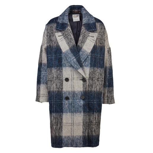 Gloverall Oversize-Mantel Trend und Tradition perfekt kombiniert: der karierte Oversize-Wollmantel mit flauschigem Mohair.
