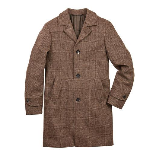 Jacobschaf-Mantel Trendpiece mit Seltenheitswert: der Glencheck-Mantel aus ungefärbter Jacobschaf-Wolle.