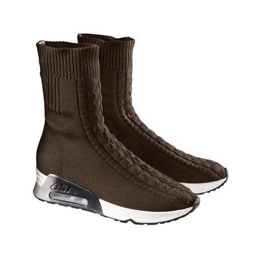 Ash Zopfstrick-Sneakerboots 100 % modisch. 100 % wintertauglich. Die Zopfstrick-Sneakerboots von Ash.