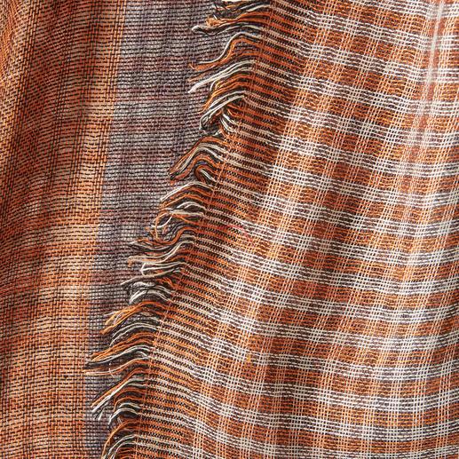 Ascot Mustermix-Herbstfarben-Schal Modischer Mustermix, in Doppelkette gewebt: Vichy-Karo auf der einen, Blockstreifen auf der anderen Seite.