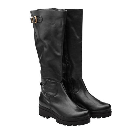 Die Plateau-Stiefel vom deutschen Schuh-Spezialisten Werner. Trotz angesagt derber Optik soft und leicht. Aus vegetabil gegerbtem Leder. Mit leichter TPR-Sohle.