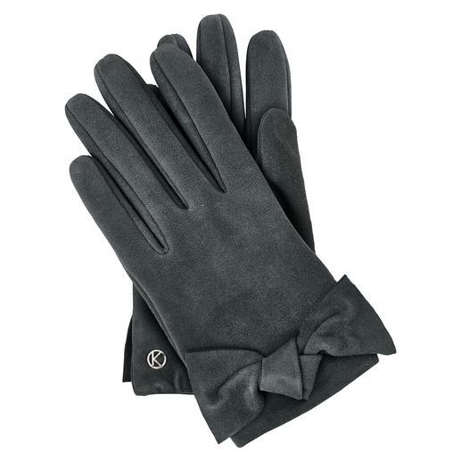 Otto Kessler Ziegenvelours-Handschuh Für einen Lederhandschuh außergewöhnlich feminin. Für feinstes Ziegenveloursleder erfreulich günstig.