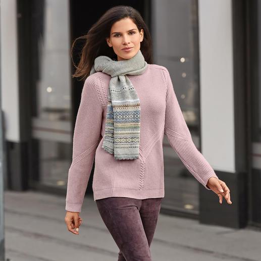 Struktur-Stricksweater Der exklusive Fashion Classics Strick-Sweater aus Schurwolle mit Kaschmir.