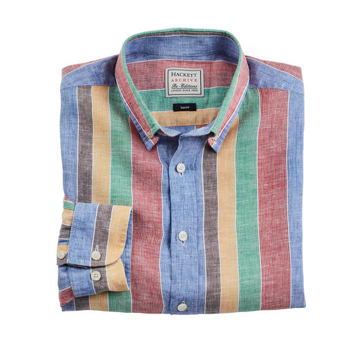 Hackett London Streifenhemd Designt in den 70ern. Jetzt aktuell wie nie. So gekonnt setzt nur Hackett London Streifen in Szene.