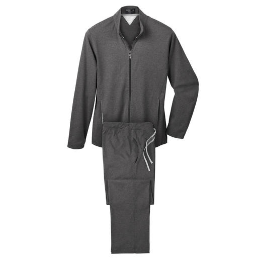 Loungewear-Anzug Fit fürs Training. Schick beim Spontanbesuch. Bequem auf dem Sofa. Ein Anzug. Edel, sportlich und sehr komfortabel.