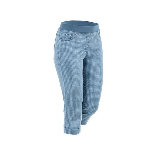 Die bequemen Jeggings, die auch zu kurzen Oberteilen tragbar sind. Optisch nah an konfektionierten Hosen. Vom deutschen Hosen-Spezialisten Raphaela by Brax.