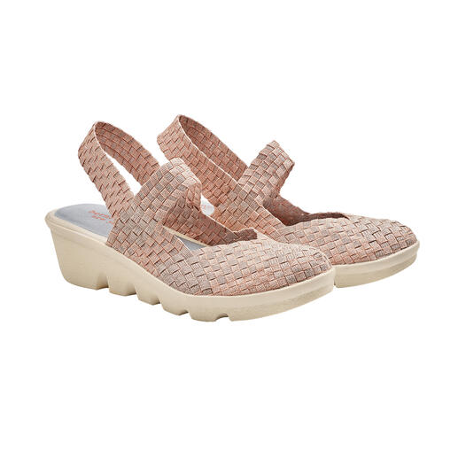 "bernie mev. Flecht-Sling-Wedges Der Fashion-Hit aus den USA: Flecht-Sling-Wedges vom ""Master of woven Footwear"", bernie mev. New York."