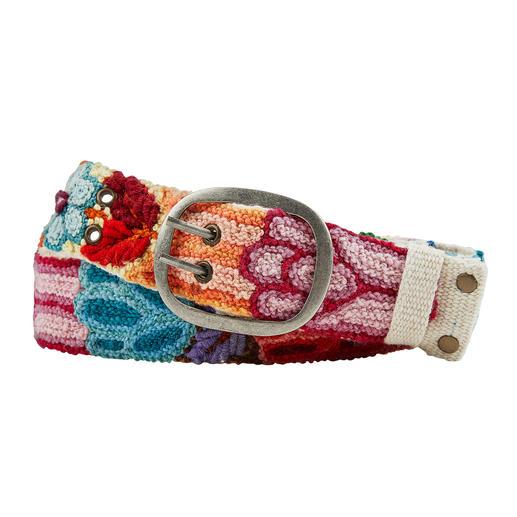 Smitten Peru-Stick-Gürtel Bunte Ethno-Gürtel tragen jetzt viele. Diese handbestickten Unikate aus Peru haben Seltenheitswert.