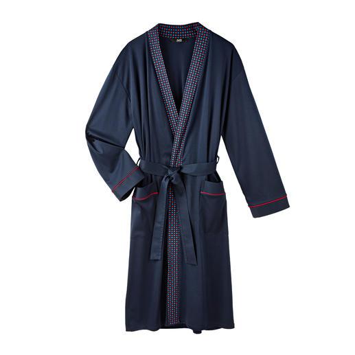 Gentleman-Bademantel Eleganter, dunkelblauer Jersey statt Flausch-Frottier. Reine Baumwolle, sauber verarbeitet, made in Germany.