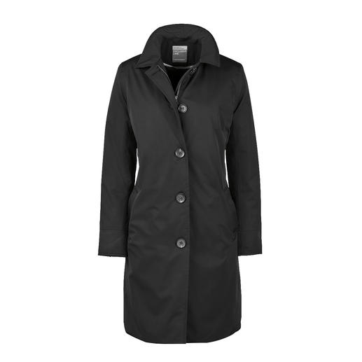 Der stilvolle Travelcoat, der perfekt vor Regen schützt. Ein seltener Glücksgriff. Wasserdicht, winddicht, atmungsaktiv und leicht wärmend.