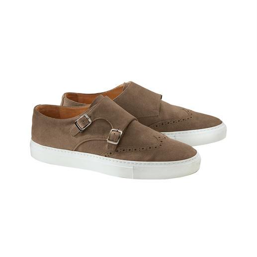 Bernacchini Double-Monk-Sneaker Seltene Doppelmonk-Form. Trendige Sneaker-Sohle. Und Top-Qualität made in Italy.