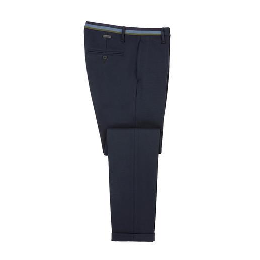 Edle Tuch-Optik. Moderner Slim-Fit. Und der Tragekomfort von Homewear. Gewirkter Jersey, klassisch konfektioniert vom deutschen Hosen-Spezialisten Alberto.