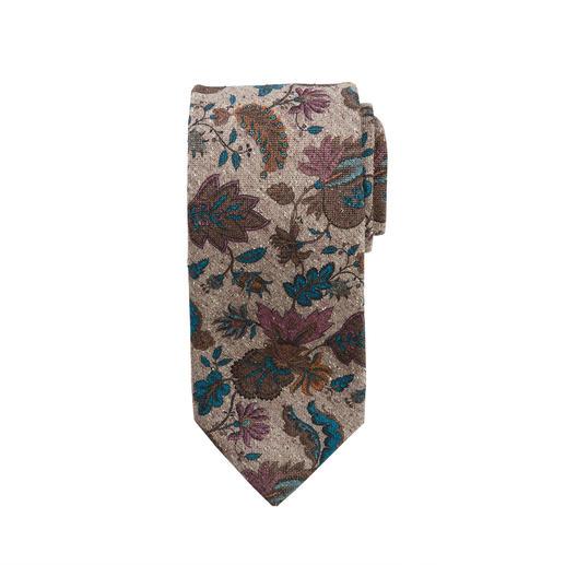 Ascot Blumen-Tweed-Krawatte Blüten-Druck auf Seiden-Tweed: Muster und Material machen diese Krawatte so interessant.