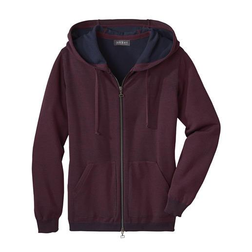 Seldom Damen-Doubleface-Strickjacke Das Verwöhnprogramm dieser Jacke: außen feine Merino-Wolle, innen weiche GIZA-Baumwolle.