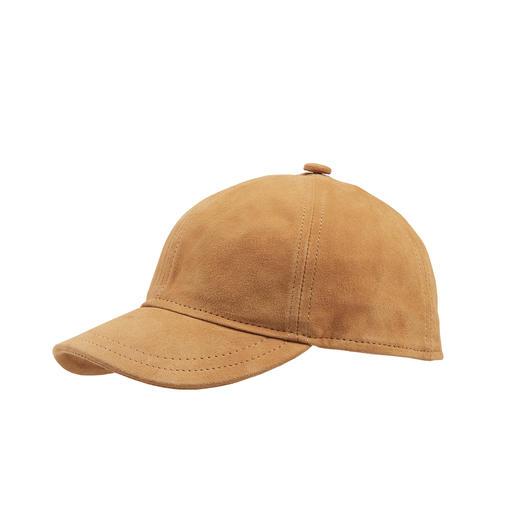 Lammvelours-Kappe Baseballcap deluxe: aus samtig-weichem Lammveloursleder. Von Herman Headwear, Hutspezialist seit 1874.