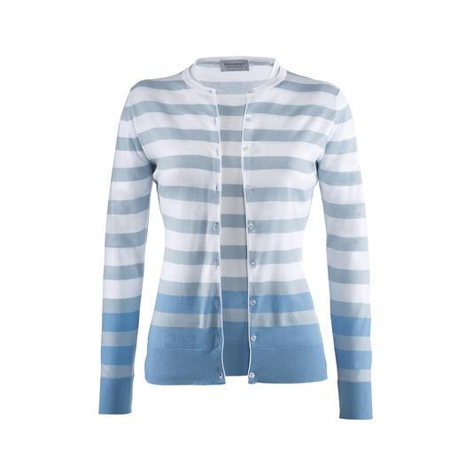 Smedley Blockstreifen-Twinset, Weiß/Bleu Purer Luxus aus wertvoller Sea Island-Baumwolle.