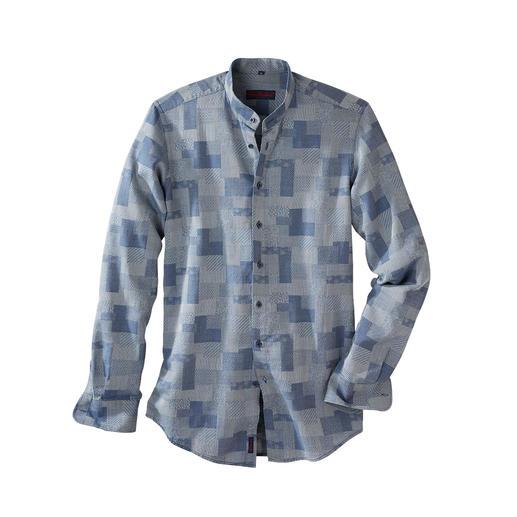 Patchwork-Denim-Hemd Ist das noch ein Jeanshemd? Oder schon ein kleines Kunstwerk?