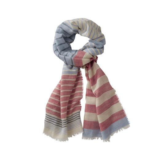 Lochcarron Streifen-Schal Der Streifen-Schal aus Wolle, Seide und Leinen.