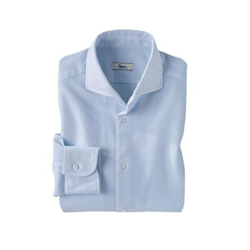 Das luftige Giro-Inglese-Hemd mit offenporiger Wabenstruktur. Konfektioniert vom italienischen Hemden-Spezialisten Ingram.